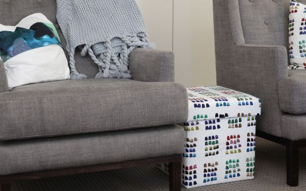 Fabric covered ottoman33