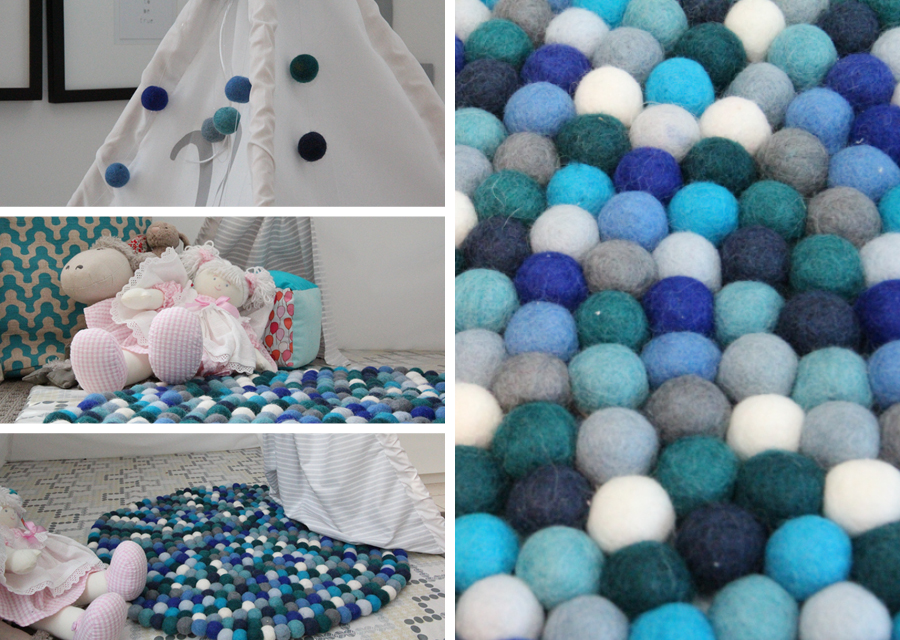 diy home felt ball rug catherinegrace. Black Bedroom Furniture Sets. Home Design Ideas